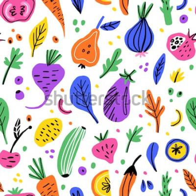 Canvastavlor Frukter och grönsaker platt hand dras sömlösa mönster. Hälsosam näringstecknad filmtextur. Skandinaviska illustrationer för ekologisk mat. Diet skiss färg cliparts. Köktextil, bakgrundsvektorpåfyllnin