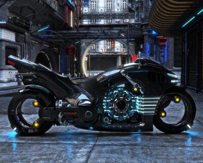 Canvastavlor Futuristisk ljuscykel på displayen. Motorcykel visas med en futuristisk urban background.3d rendering