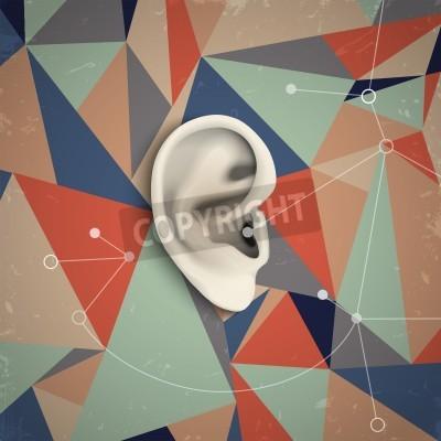 Canvastavlor Futuristiska grunge bakgrund med örat. vektor