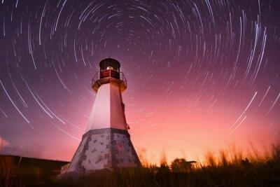 Canvastavlor fyr med natthimlen på bakgrunds stjärnor spår