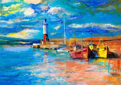 Canvastavlor Fyr och båtar