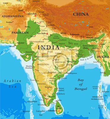 Fysisk Karta Over Indien Canvastavlor Pa Vagg Tavlor Nya Delhi