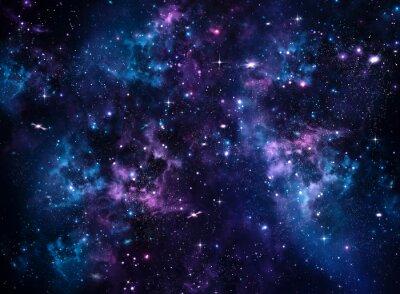 Canvastavlor Galaxy, abstrakt blå bakgrund
