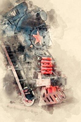 Canvastavlor Gamla ånglokomotiv från 1900-talet. Akvarell bakgrund