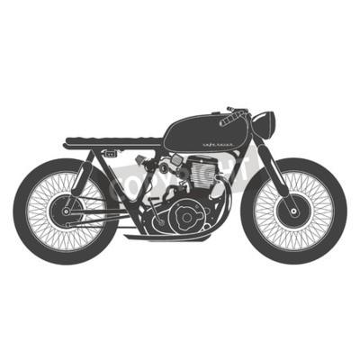 Canvastavlor Gamla årgång motorcykel. cafe racer tema.
