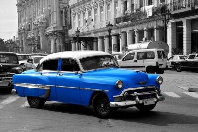 Canvastavlor Gamla blå amerikansk bil i Havanna, Kuba