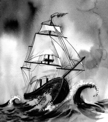 Canvastavlor Gamla fartyg i stormigt hav