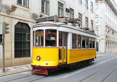 Canvastavlor Gamla gula Lissabon spårvagn, Portugal