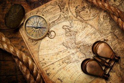 Canvastavlor gamla kompass, kikare och rep på tappning kart