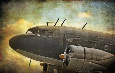 Canvastavlor Gamla militära flygplan, grunge bakgrund