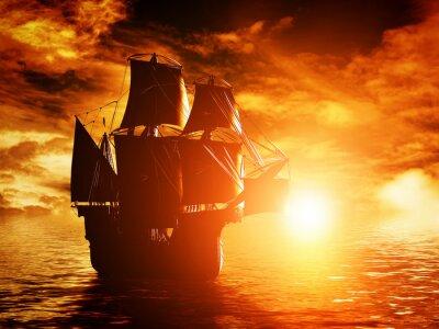 Canvastavlor Gamla piratskepp seglar på havet i solnedgången