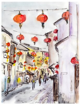 Canvastavlor Gamla stan gata i Kina, traditionella kinesiska röda lyktor