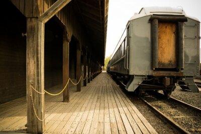 Canvastavlor Gamla tåg på stationen