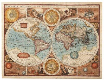 Canvastavlor Gammal karta (1626)