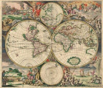 Canvastavlor Gammal karta (1689)