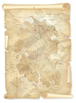 Canvastavlor Gammal karta pirater skatt ö med markerade platsen, vektor