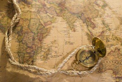 Canvastavlor gammal kompass och rep på vintagekarta