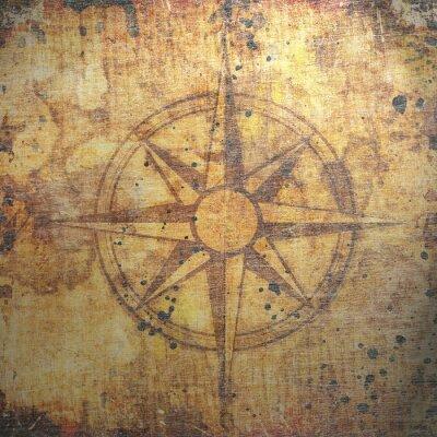 Canvastavlor Gammal kompass på papper bakgrund