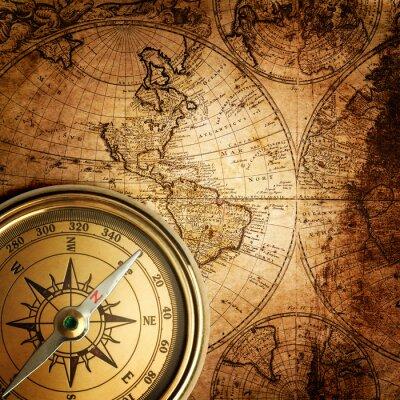 Canvastavlor gammal kompass på vintagekarta 1746