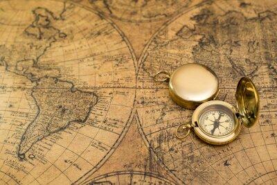 Canvastavlor gammal kompass på vintagekarta