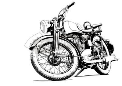 Canvastavlor gammal motorcykel illustration