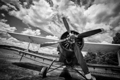 Canvastavlor Gammalt flygplan på fält i svart och vitt