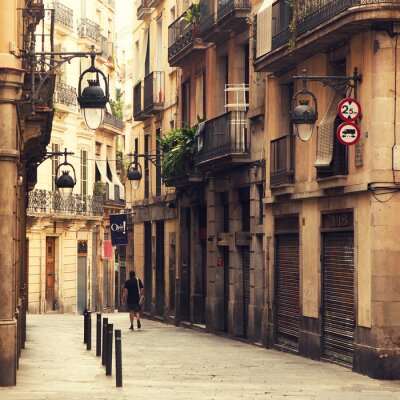 Canvastavlor Gata i gotiska kvarteren i Barcelona.