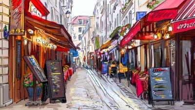 Canvastavlor Gata i Paris - illustration