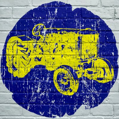 Canvastavlor Gatukonst. Tracteur agricole grunge