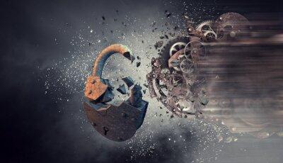 Canvastavlor Gears arbetsmekanism. Mixad media