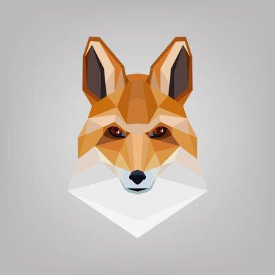 Canvastavlor Geometrisk polygonala huvudet är rävar. Logo design.