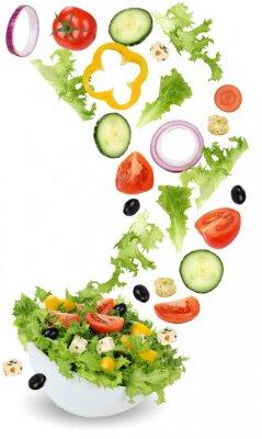Canvastavlor Gesund Vegetarisch Essen Salat mit Tomate, Gurke, Zwiebel und Pa