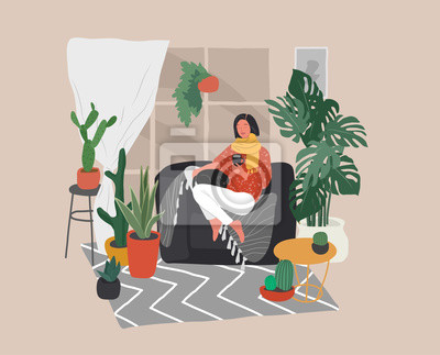 Canvastavlor Girl sitting and resting on the couch with a cat and coffee. Daily life and everyday routine scene by young woman in scandinavian style cozy interior with homeplants. Cartoon vector