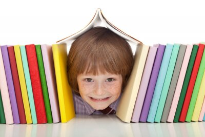Canvastavlor Glad pojke med färgglada böcker