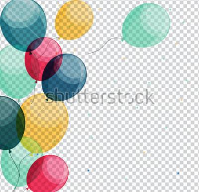 Canvastavlor Glänsande Grattis på födelsedagen Ballonger på Transparent Bakgrund Vector Illustration eps10