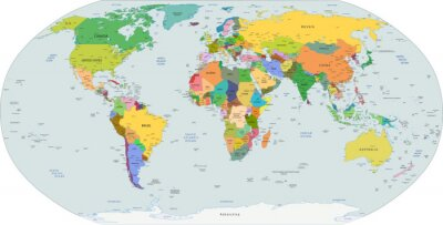 Canvastavlor Global politisk karta över världen, vektor