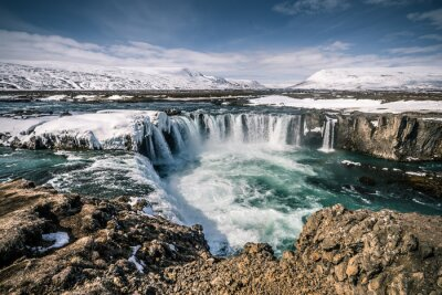 Canvastavlor Godafoss Wasser auf Island