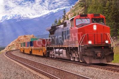 Canvastavlor Godståg i kanadensiska Klippiga bergen