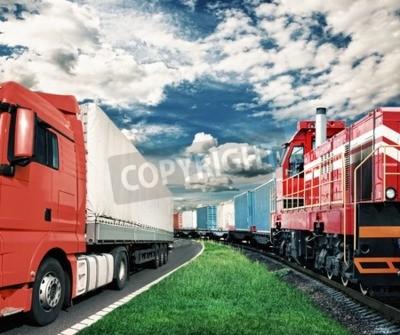 Canvastavlor godståg och lastbil som transportkoncept