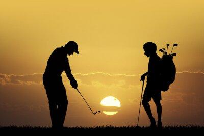 Canvastavlor Golf turnering vid solnedgången