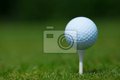 Canvastavlor golfboll på en vit tee med ett grönt gräs i bakgrunden