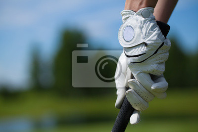 Canvastavlor Golfspelare handskar hålla järn eller putter