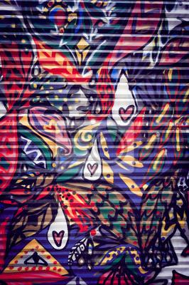 Canvastavlor Graffiti coloré sur porte métallique