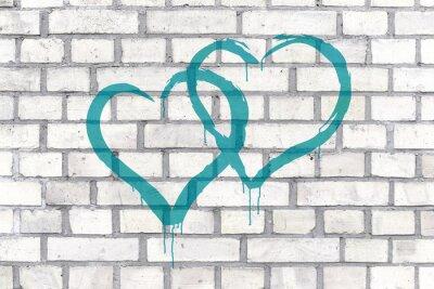 Canvastavlor Graffiti Hearts utförda på en vägg bakgrund