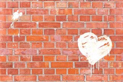Canvastavlor Graffiti hjärta framförde på en tegelvägg med utrymme för text