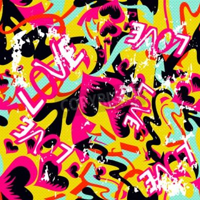 Canvastavlor graffiti hjärtans dag sömlös bakgrund grunge konsistens