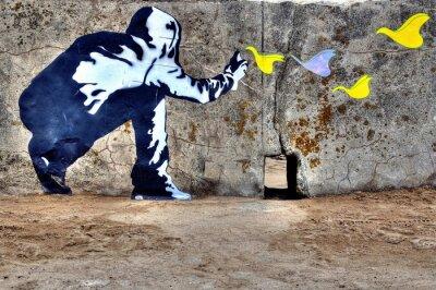 Canvastavlor graffiti liberté