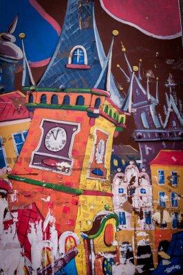 Canvastavlor Graffiti maison aux couleurs vives