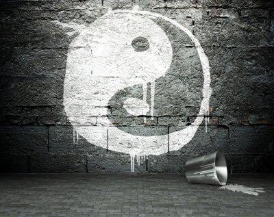 Canvastavlor Graffiti vägg med yin yang, gata bakgrund