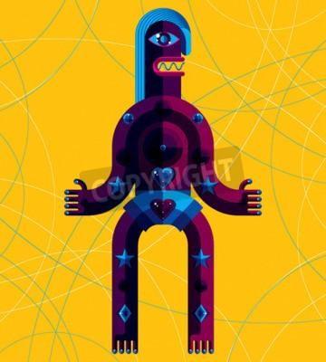Canvastavlor Grafisk vektorillustration isolerade människo tecken på konst bakgrund, dekorativa modern avatar gjort i kubismen stil.